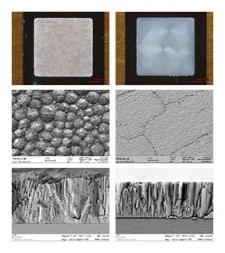 Optical microscopy and SEM images of PETN films on low surface energy (left) and high surface energy substrates (right). Fracture cross-sections (bottom) show a reduction in porosity and increase in density for PETN grown on high surface energy substrates.