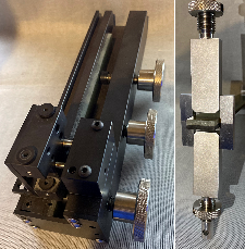 <p>Left: Drill Hole Jig designed at Sandia, Right: Sandia's solution for Mode I Fracture Testing</p><p><br /></p>