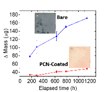 Corrosion of copper in hydrogen sulfide evidenced by mass gain over time. Images of copper coupons after accelerated testing show exceptional corrosion protection.